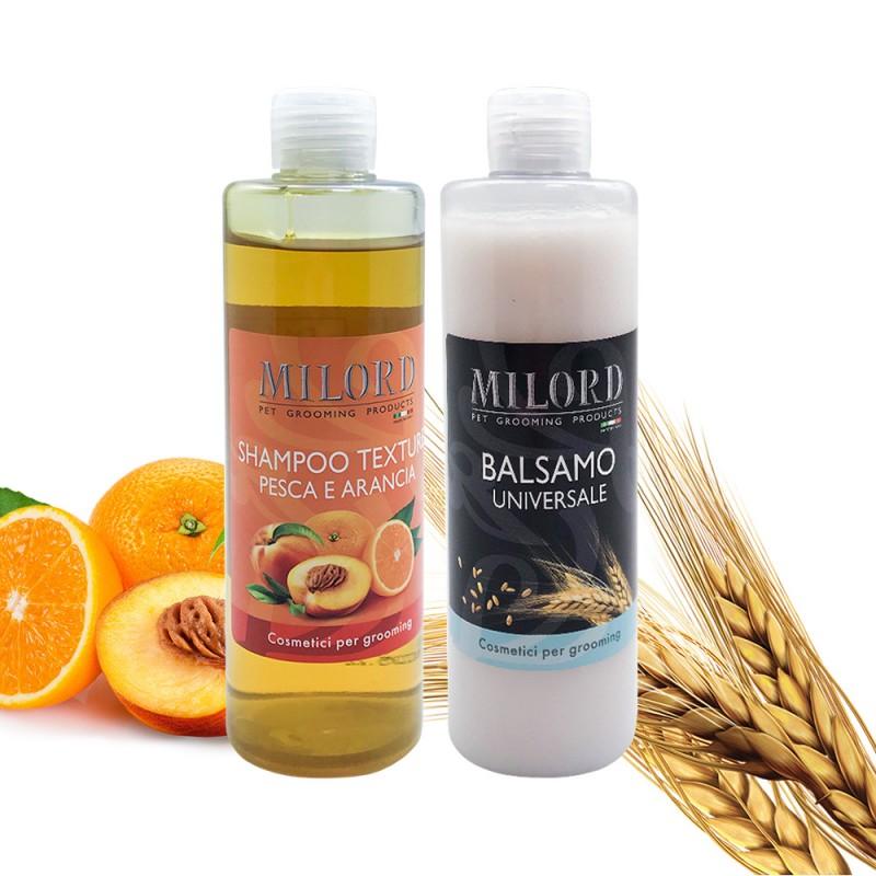 Набор текстурирующий MILORD  бальзам Универсальный + шампунь Персик-апельсин